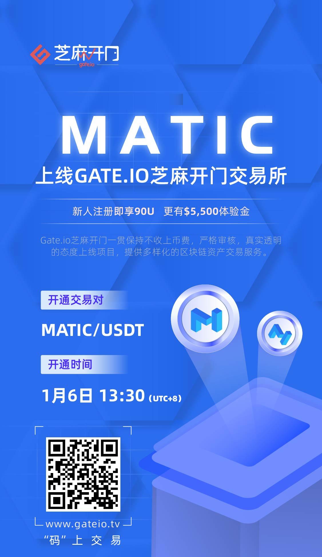 Gate.io芝麻开门将上线 Matic Network (MATIC) 交易的公告插图