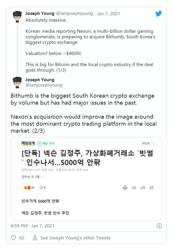 继Korbit和Bitstamp之后,韩国知名游戏公司或五折收购最大交易所Bithumb插图1