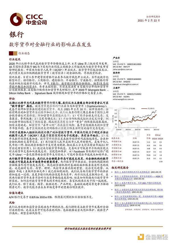 证券研究报告:数字货币对金融业的影响