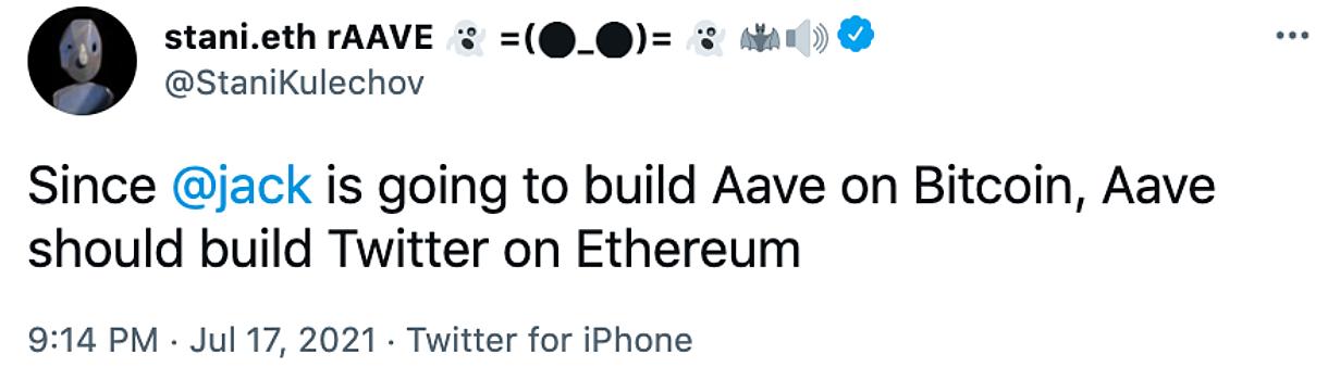10块钱发一条推特?网友回应AAVE将推以太坊版推特